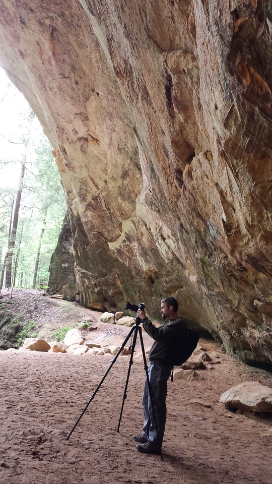 At Ash Cave (Hocking Hills, Ohio) doing a photo shoot for REI.  Photo taken by my wife
