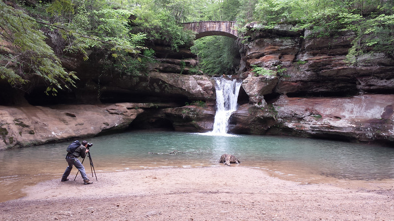 At the upper falls of Old Man's Cave  (Hocking Hills, Ohio) doing a photo shoot for REI.  Photo taken by my wife