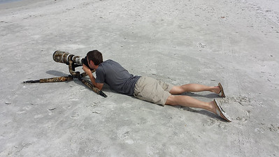 Having some fun on the beach shooting Black Skimmers in Indian Shores, Florida.  Shooting low like this gives you the best prospective for shorebirds.   Photo taken by my wife