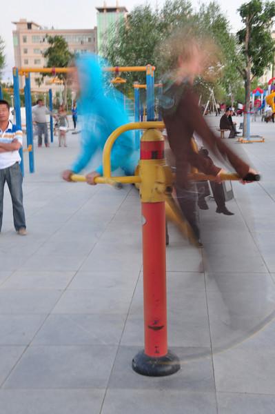 Leg-swinging in action!