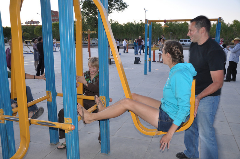 Some sort of leg-push machine.  Just add one Matt for extra resistance.