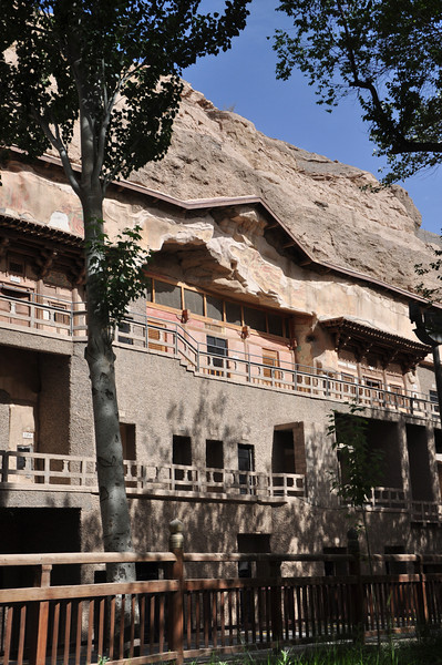 Another shot of the complex -- the grottoes are on two levels (lower and upper), and take up most of the cliff face.