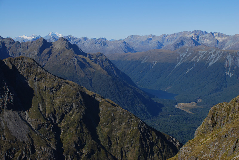 Lake Gunn from the Disappearing Peaks, Mt Earnslaw in the background