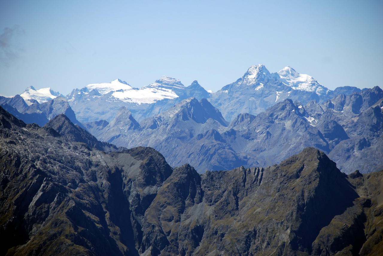 The Forbes Mountains from the Disappearing Peaks, Mt Earnslaw to the right