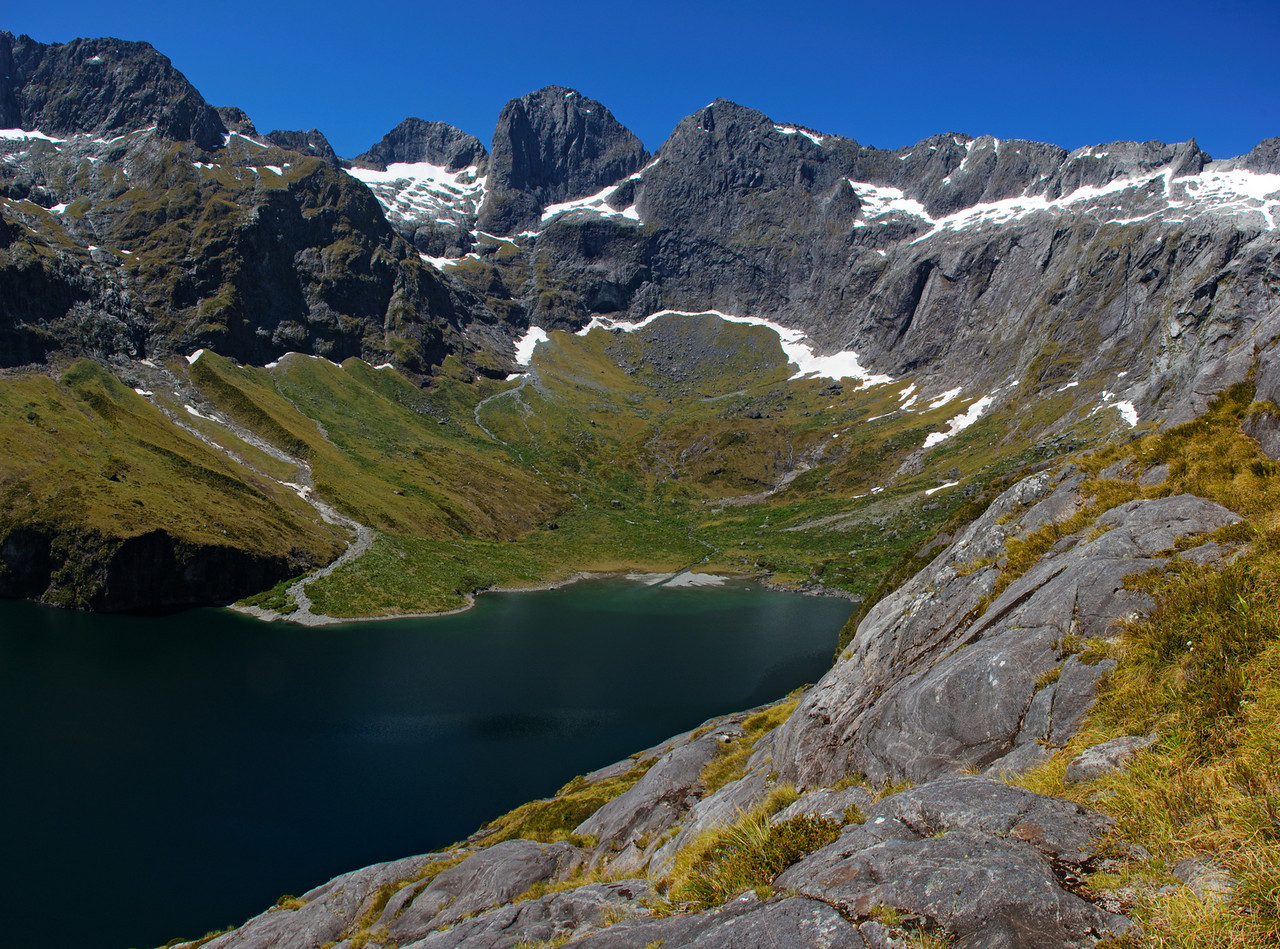 The head of Lake Adelaide. Adelaide, Sabre, Marian and Barrier Peaks above.