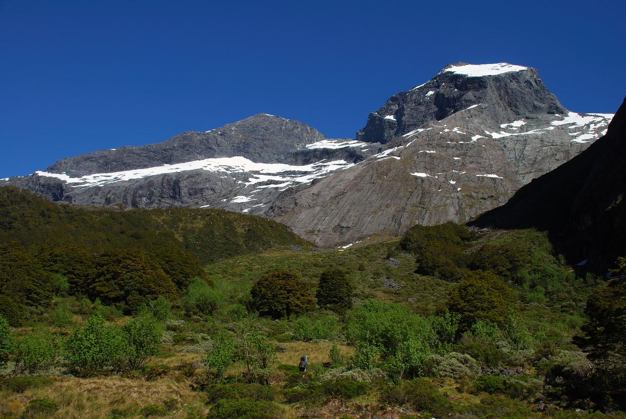 On the way up Moraine Creek. Apirana Peak above.