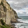 The cliffs on the coastline south of Dunedin