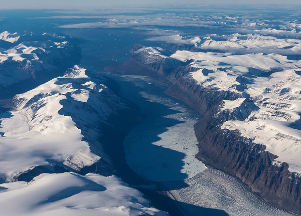 The terminus of Ingia Glacier, emptying into Ingia Fjord and ultimately, Baffin Bay