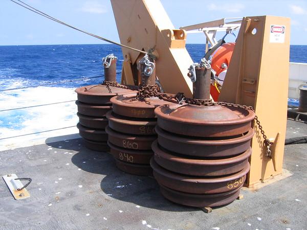 Railroad car wheels used as buoy anchors