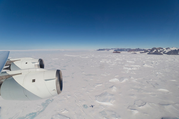 Out over sea ice/remnants of the Larsen B ice shelf