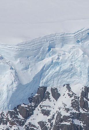 Snow layers near upper Crane Glacier