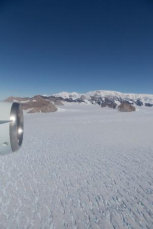 Heading up Drygalski Glacier. Tillberg peak on the left.