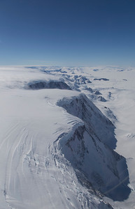 Looking north up the peninsula mountains near Drygalski Glacier