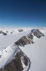 A line of peaks on the western edge of upper Pequod Glacier