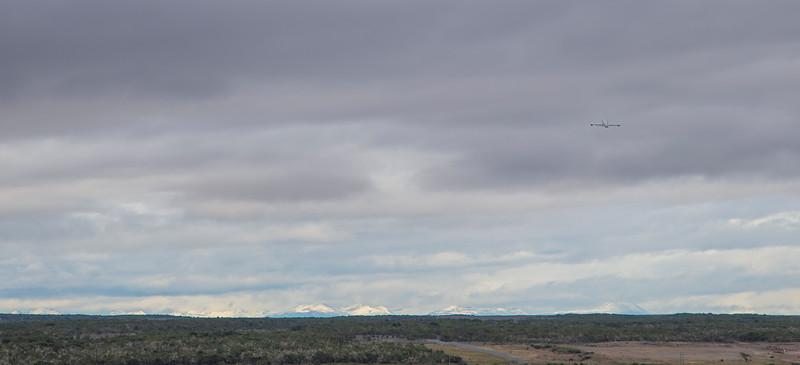 The NASA DC-8 climbing out of Punta Arenas