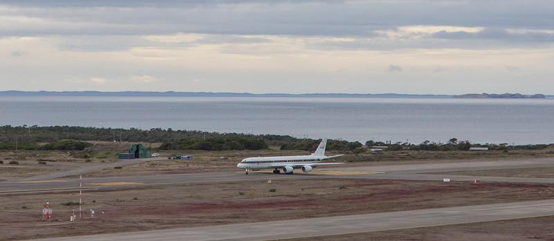 The NASA DC-8 just starting down the runway