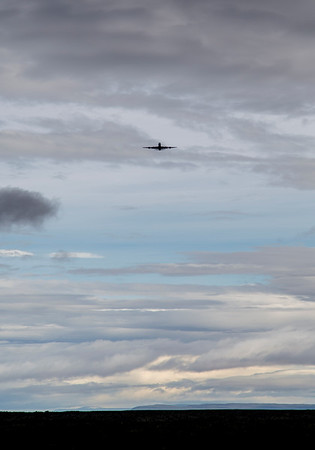 """The NASA DC-8 flying over Punta Arenas for a calibration """"ramp pass"""""""