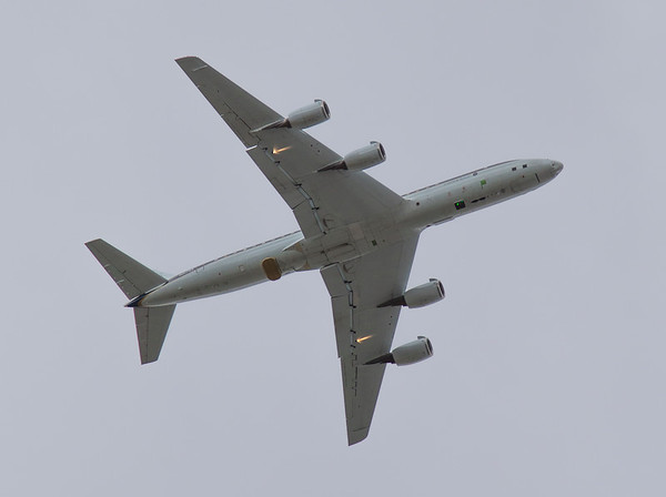 "The NASA DC-8 overhead during a calibration ""ramp pass"""