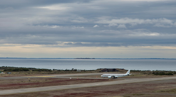 The NASA DC-8 awaiting takeoff clearance
