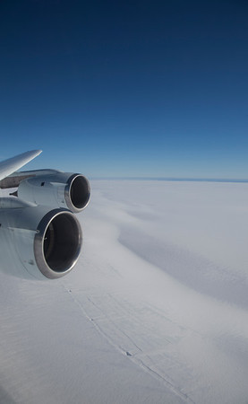 Flying along the edge of the Nickerson Ice Shelf