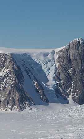 A close-up of an icefall on Mount McCoy