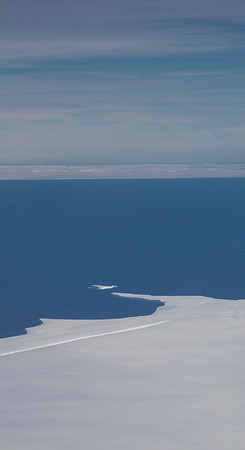 Icebergs from Thwaites Glacier in the distance, from over Pine Island Glacier