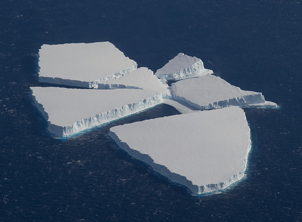 A group of tabular icebergs just off Pine Island Glacier
