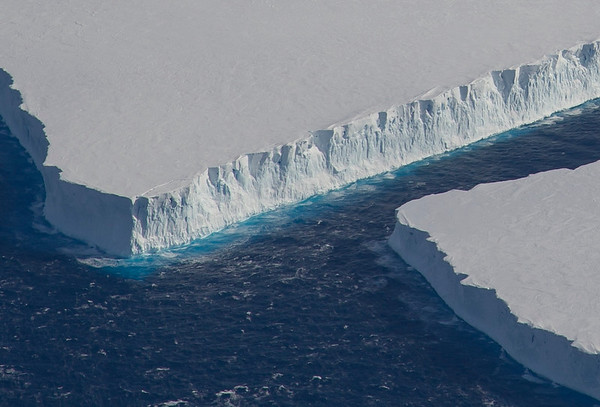 Close-up of tabular icebergs off of Pine Island Glacier