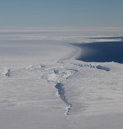 The beginning of a large crevasse system on Pine Island Ice Shelf