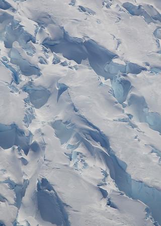 A close-up of crevasses on Pine Island Ice Shelf