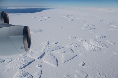 Icebergs frozen in sea ice