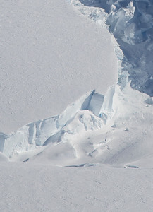 Snow layers seen in the edge of a crevasse; Crosson Ice Shelf