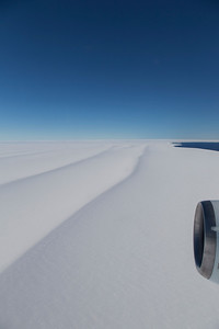 Large, snow-covered crevasses near the terminus of Dotson Ice Shelf