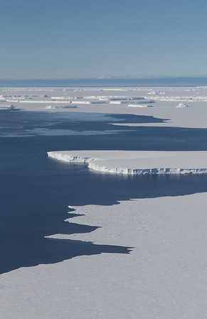 Icebergs from Thwaites Glacier Tongue with sea ice