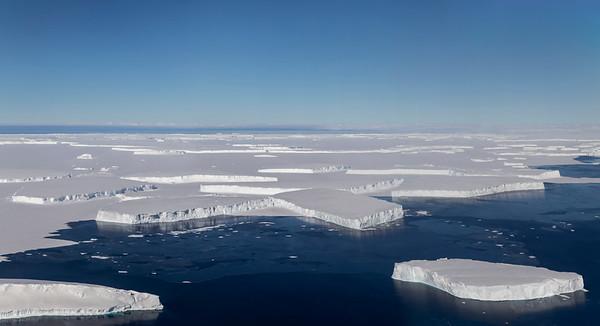 Icebergs from Thwaites Glacier with sea ice