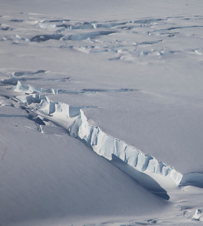 A large crevasse in Land Glacier