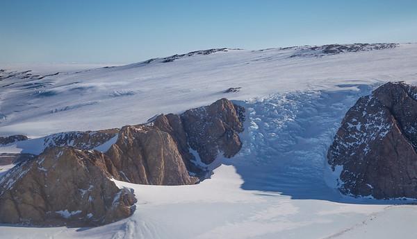 An icefall near Mount Sinha
