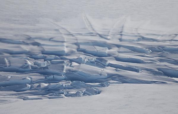Crevasses at the top of Hull Glacier