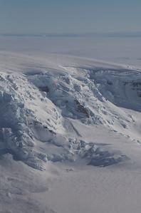 A snow-covered icefall near Johnson Glacier