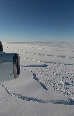 A series of icebergs just off the calving front of the Larsen C ice shelf.