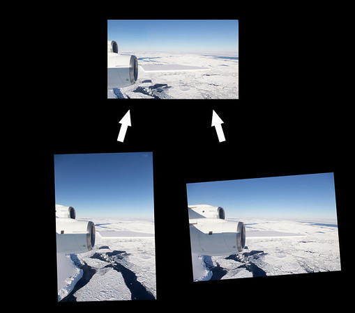 """""""Breakout"""" image of the panorama, showing the two source images"""