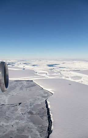 """Photo of the icebergs just north of the """"square"""" iceberg, which you can see in the middle of the right side of this image"""