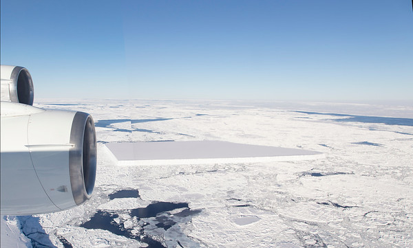 """Panorama of the entire """"square"""" iceberg near the Larsen C ice shelf. Minimal processing, editing has been done, so there is a discontinuity in the image."""