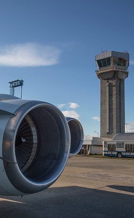 The DC-8 port engines and Punta Arenas control tower