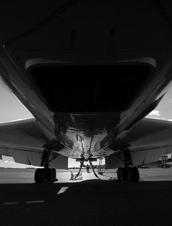 Beneath the DC-8 during pre-flight