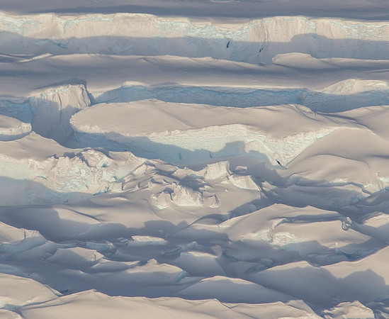 Close-up of crevasses along the periphery of Blackwall Ice Stream