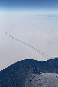The calving front and a large crevasse in the Filchner Ice Shelf