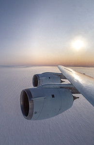 The DC-8 wing and engines over the Blackwall Ice Stream