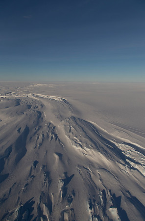 Snow-covered crevasses on the Stancomb-Wills glacier