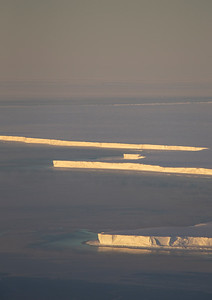 The calving front of Brunt ice shelf in the light from sunset